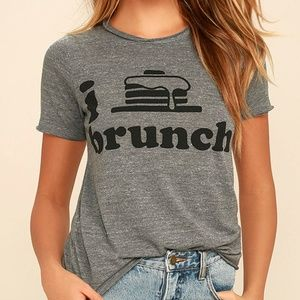 Chaser I Heart Brunch Heather Gray Tee